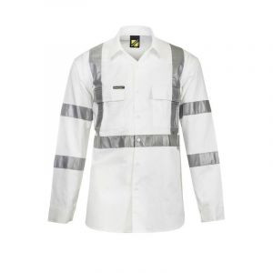 Hi Vis L/S Cotton Work Shirt with X pattern & Bio-motion Tape -  Night Use Only