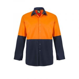 LIGHTWEIGHT HI VIS L/S COTTON FOOD INDUSTRY VENTED WORK SHIRT WITH PRESS STUDS AND NO POCKETS