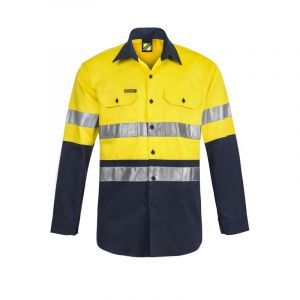 LIGHTWEIGHT HI VIS L/S VENTED COTTON WORK SHIRT WITH REFLECTIVE TAPE