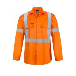 LIGHTWEIGHT HI VIS L/S VENTED COTTON WORK SHIRT WITH X PATTERN TAPE