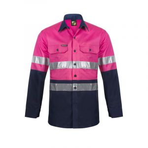 LIGHTWEIGHT L/S VENTED COTTON WORK SHIRT WITH REFLECTIVE TAPE - NIGHT USE ONLY
