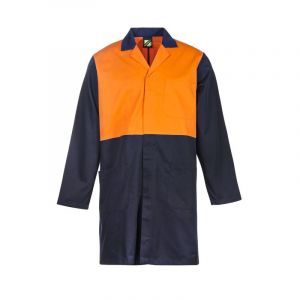 HI VIS L/S DUSTCOAT WITH PATCH POCKETS