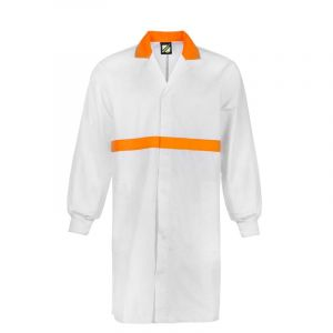 FOOD INDUSTRY L/S DUSTCOAT WITH CONTRAST COLLAR, CHESTBAND, INTERNAL PATCH POCKETS