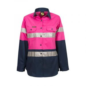 LADIES LIGHTWEIGHT HI VIS L/S VENTED COTTON WORK SHIRT WITH REFLECTIVE TAPE - NIGHT USE ONLY