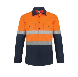 Heavy Duty Hi Vis Hybrid L/S Closed Front Cotton Work Shirt with Reflective Tape