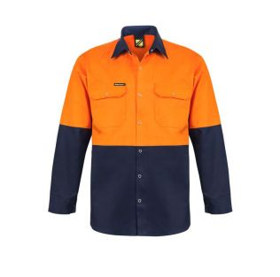 HI VIS L/S COTTON WORK SHIRT WITH PRESS STUDS