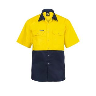 HI VIS S/S COTTON WORK SHIRT WITH PRESS STUDS