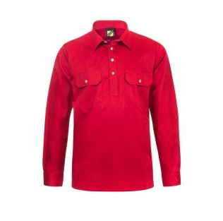 LIGHTWEIGHT L/S CLOSED FRONT COTTON WORK SHIRT