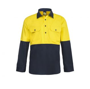 Lightweight Hi Vis L/S Closed Front Vented Cotton Work Shirt