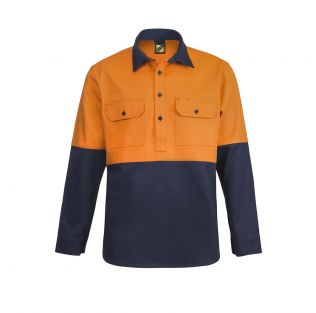 Heavy Duty Hi Vis L/S Hybrid Closed Front Cotton Work Shirt