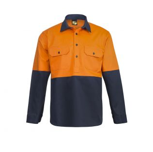 Hi Vis L/S Closed Front Cotton Work Shirt