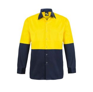 HI VIS L/S COTTON FOOD INDUSTRY WORK SHIRT WITH PRESS STUDS AND NO POCKETS