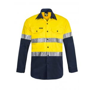 HI VIS L/S COTTON WORK SHIRT WITH REFLECTIVE TAPE