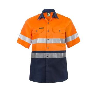 HI VIS S/S COTTON WORK SHIRT WITH REFLECTIVE TAPE