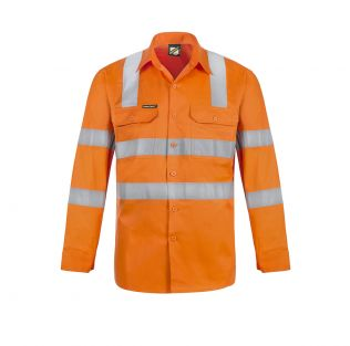 Lightweight Hi Vis L/S Vented Cotton Work Shirt with Shoulder Pattern Reflective Tape