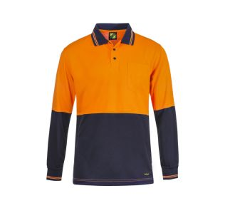 HI VIS L/S COTTON BACK POLO WITH POCKET