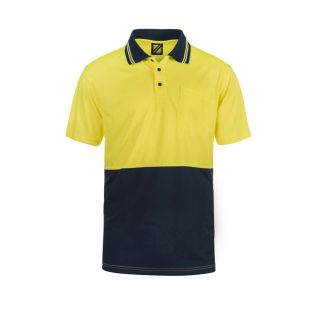 HI VIS S/S COTTON BACK POLO WITH POCKET