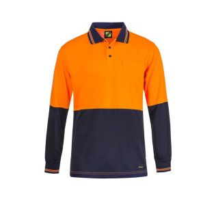 HI VIS L/S MICROMESH POLO WITH POCKET