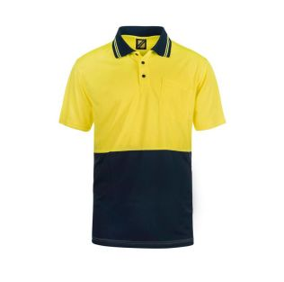 HI VIS S/S MICROMESH POLO WITH POCKET