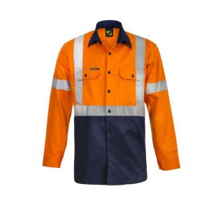 Hi Vis L/S Cotton Work Shirt with X Pattern Reflective Tape