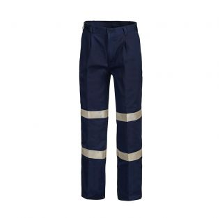 Classic Pleat Cotton Work Pant with Industrial Laundry Tape