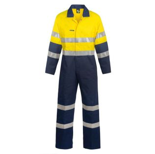 HI VIS COTTON COVERALLS WITH INDUSTRIAL LAUNDRY TAPE