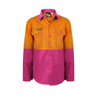 Kids Lightweight Two Tone L/S Cotton Work Shirt