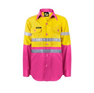 KIDS LIGHTWEIGHT TWO TONE L/S COTTON WORK SHIRT WITH REFLECTIVE TAPE
