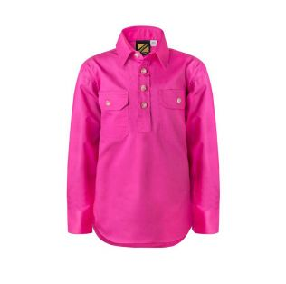 KIDS LIGHTWEIGHT L/S CLOSED FRONT COTTON WORK SHIRT