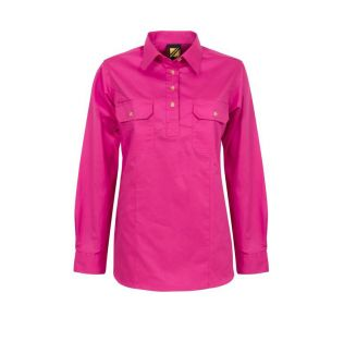 LADIES LIGHTWEIGHT L/S CLOSED FRONT COTTON WORK SHIRT