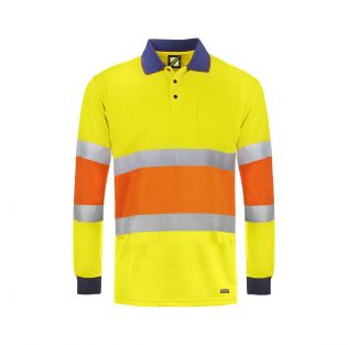 Hi Vis Traffic Controller L/S Micromesh Polo with Reflective Tape