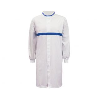 Food Industry L/S Long Dustcoat with Mandarin Collar, Contrast Trims on Collar and Chest