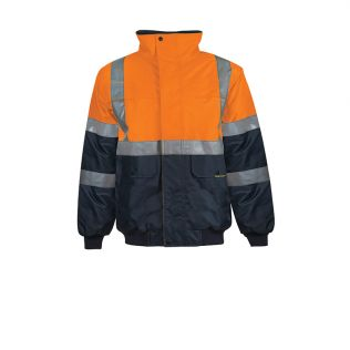 Hi Vis Waterproof Modern Bomber Jacket with H Pattern Reflective Tape