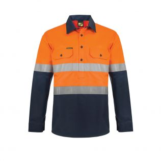Lightweight Hi Vis L/S Closed Front Vented Cotton Work Shirt with Reflective Tape