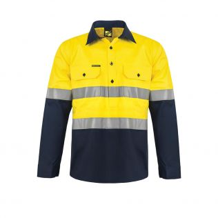 Hi Vis L/S Closed Front Cotton Work Shirt with Reflective Tape