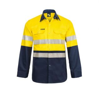 Hi Vis L/S Cotton Work Shirt with Industrial Laundry Tape and Press Studs