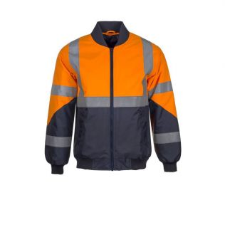 Hi Vis Waterproof Bomber Jacket with X Pattern Reflective Tape