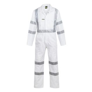 HI VIS COTTON COVERALL WITH BIO MOTION TAPE - NIGHT USE ONLY