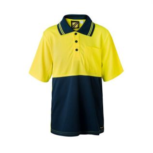 KIDS TWO TONE S/S MICROMESH POLO WITH POCKET