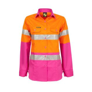 LADIES LIGHTWEIGHT HI VIS L/S VENTED COTTON WORK SHIRT WITH REFLECTIVE TAPE