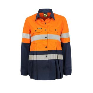 MATERNITY LIGHTWEIGHT HI VIS L/S VENTED COTTON WORK SHIRT WITH REFLECTIVE TAPE