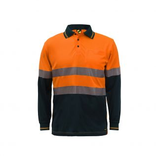 Hi Vis L/S Micromesh Polo with Pocket and Reflective Tape