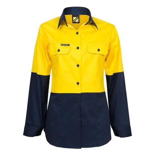 Ladies Lightweight L/S Closed Front Cotton Work Shirt